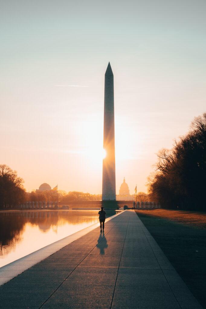 Washington DC website design company and web designer walking by monument
